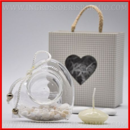 Porta candela in vetro a cuore decorato idee economiche for Porta candela