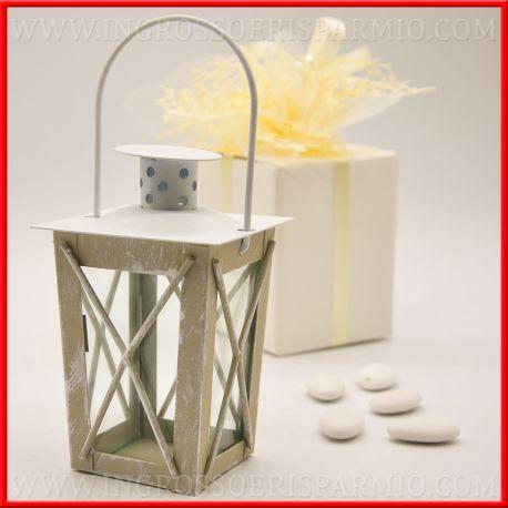 Lanterne shabby matrimonio economiche metallo tortora for Lanterne bianche