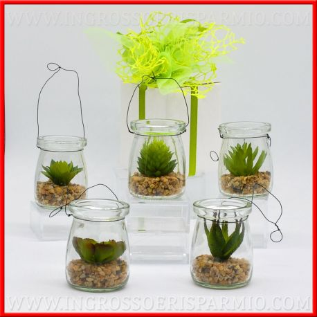 Piante Grasse In Vetro.Piante Grasse Con Vaso Vetro Lanterna E Sassi Natural Finte