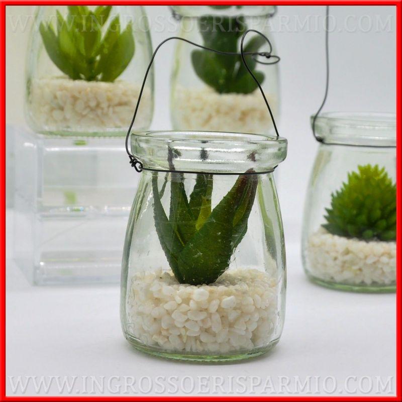 Piante Grasse Vetro : Bomboniere piante grasse artificiali piccole in vasetto