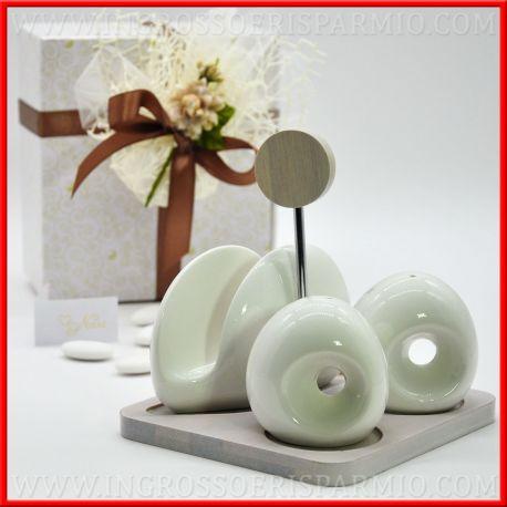 Idee Bomboniere Utili Matrimonio.Set Portatovaglioli Sale E Pepe In Ceramica Bianca Idee