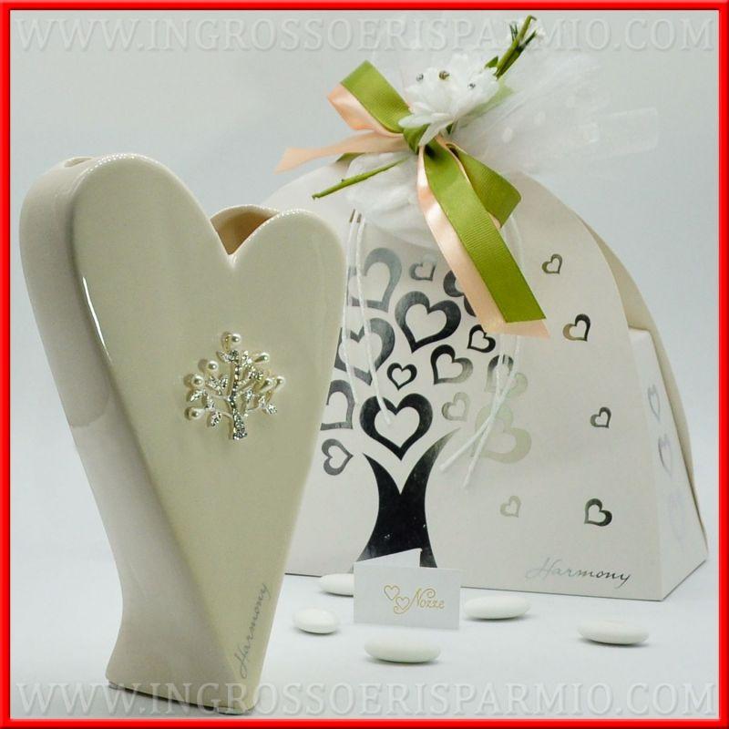 Matrimonio Tema Cuore : Vaso porcellana cuore stilizzato nozze tema albero della