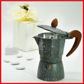 CAFFETTIERE MOKA EFFETTO PIETRA E LEGNO IDEE BOMBONIERE UTILI