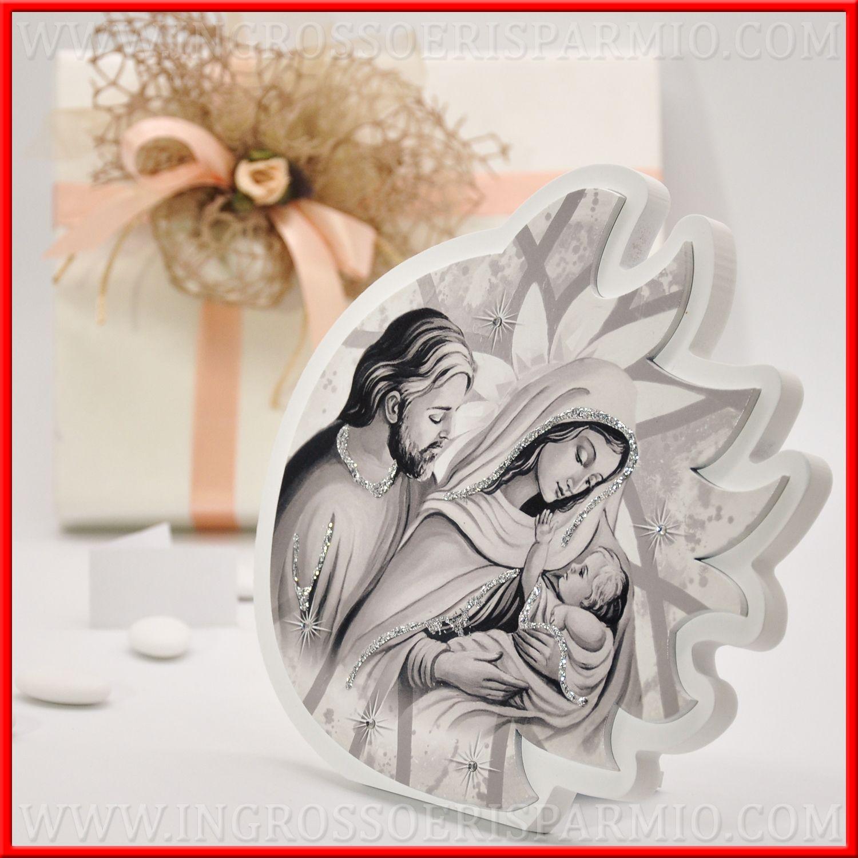 Bomboniera Icona Sacra Famiglia Quadretto Legno Cuore Argento Grey misura 10X13