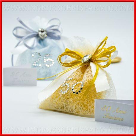 Sacchetti confetti anniversario di matrimonio argento oro for Video anniversario 25 anni di matrimonio
