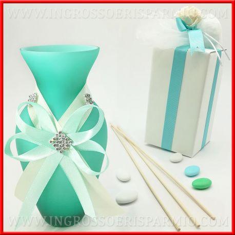 Bomboniere Matrimonio Verde Tiffany.Vasetti Vetro Satinato Con Strass Decorati Bomboniere Per