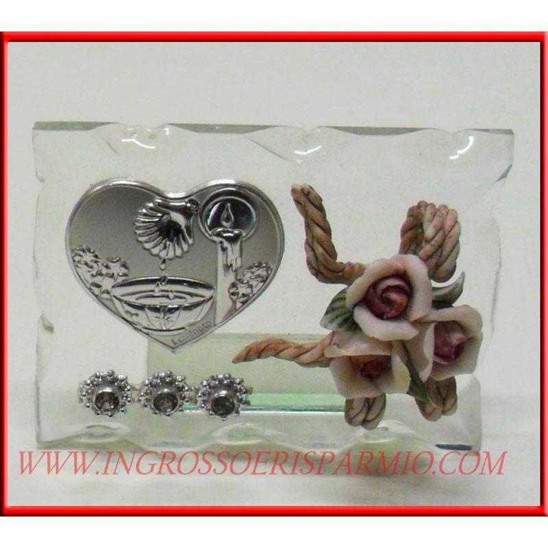 Icona cristallo placca cuore fonte battesimale fiore - Cestini porta bomboniere ...