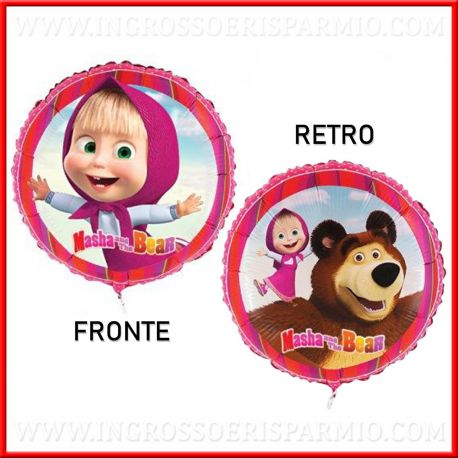 PALLONCINI MASHA AND THE BEAR FOIL 18 POLLICI ROTONDI BAMBINA ORSO CARTONI ANIMATI FESTE DI COMPLEANNO PARTY