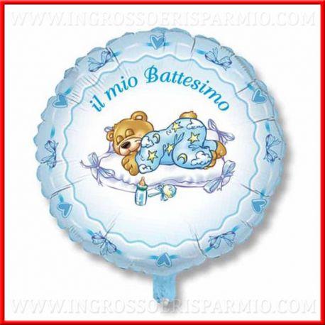 PALLONCINI BATTESIMO ELIO 45/80CM CELESTE BAMBINO CENTROTAVOLA PARTY FESTE SCRITTA ORSETTO MASCHIETTO ADDOBBI