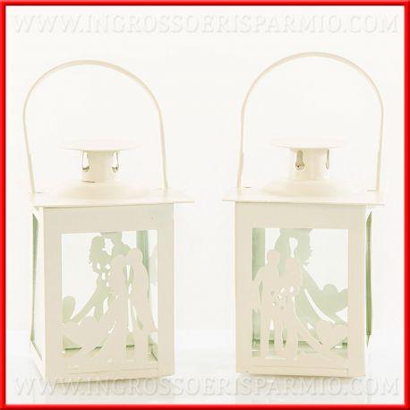 Ingrosso Bomboniere Matrimonio.Lanterne Bomboniere Matrimonio Decorate Con Coppia Sposi
