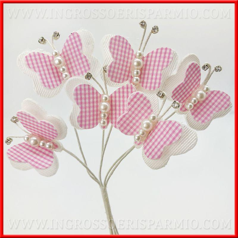 Farfalle di stoffa decorative rosa idee applicazioni for Farfalle decorative per muri