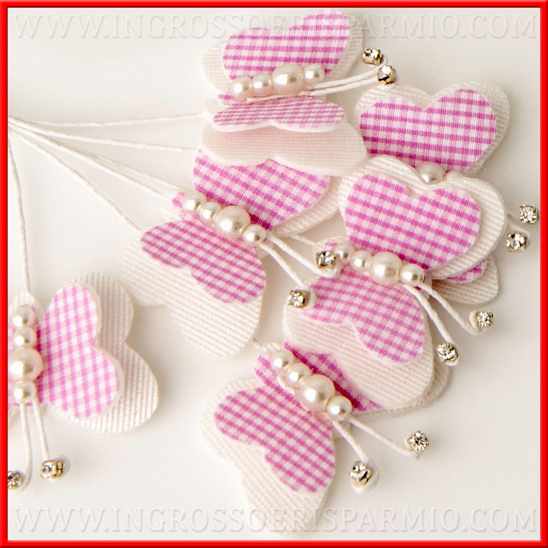 Farfalle Decorative Fai Da Te farfalle di stoffa decorative rosa idee applicazioni bomboniere - ingrosso  e risparmio