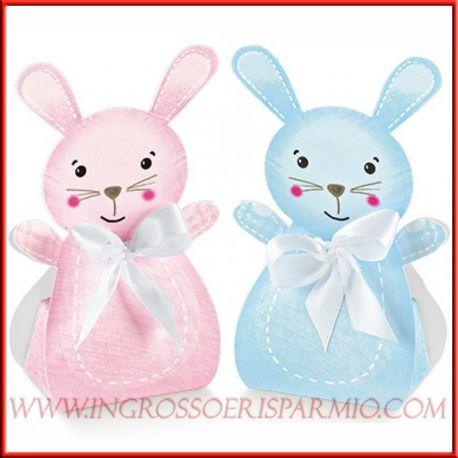 Scatoline portaconfetti a forma di coniglietto rosa - Cestini porta bomboniere ...