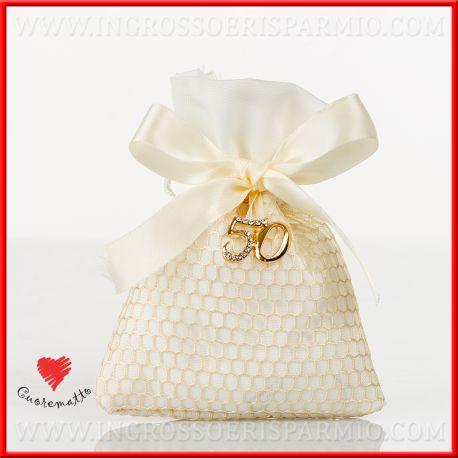 Portaconfetti Oro 50 Anni Matrimonio Compleanno Cuorematto