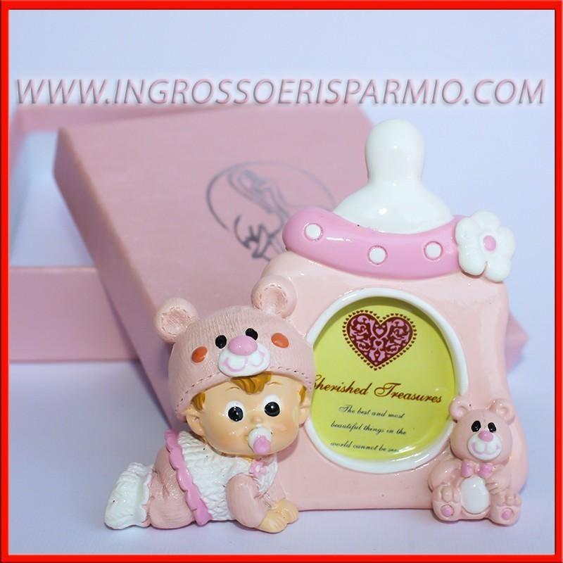 Portafoto bimba con biberon rosa e orsetto cornici - Portafoto thun prezzi ...