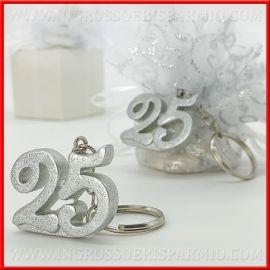 Xxv Anniversario Di Matrimonio.Portachiavi Ciondolo 25 Argento