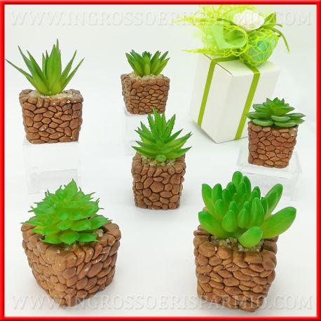 Bomboniere Matrimonio Green.Piante Artificiali Con Vaso Pietra Tema Green Natura Nozze