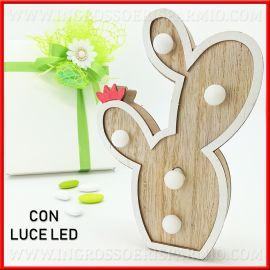 LAMPADA DECORATIVA IN LEGNO CON LED CACTUS PIANTE GRASSE BOMBONIERE NOZZE OFFERTE