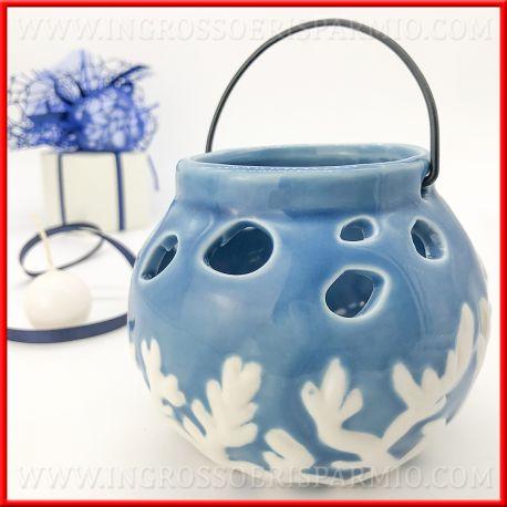 Bomboniere Mare Matrimonio.Portacandela Lanterna Ceramica Blu Collezione Mare Matrimonio