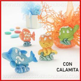 ANIMALETTI COCCINELLA CM 4X3 DECORATA A MANO IN CERAMICA DI CALTAGIRONE