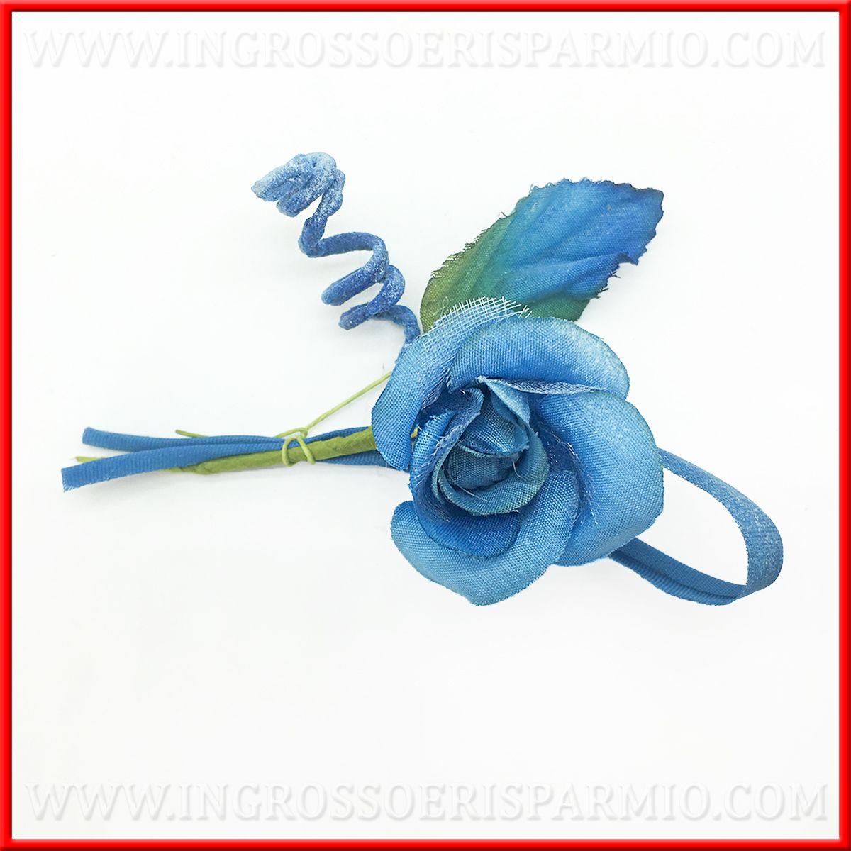 Rose Fai Da Te fiorellini finti rose in tessuto blu decorazioni fai da te - ingrosso e  risparmio